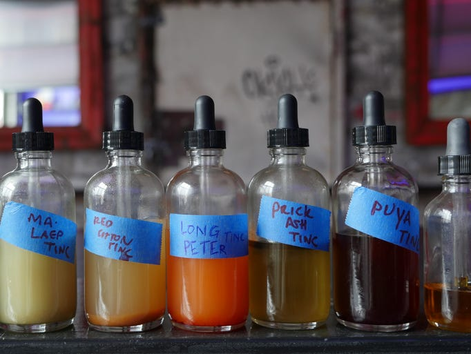 The house-made tinctures at Katoi restaurant in Detroit's