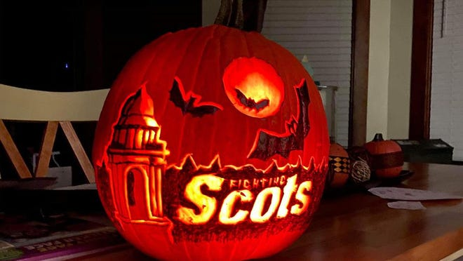 Another way the Halloween spirit is connected to Monmouth College this week is this beautiful pumpkin carving, created by Galesburg artist and Monmouth alumnus Dusty Scott '03.