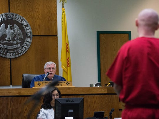 Judge Douglas Driggers,left, sentencing Jesse Hanes,right,