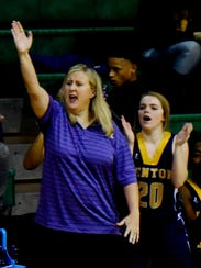 Benton girls basketball coach Mary Ward yells instructions