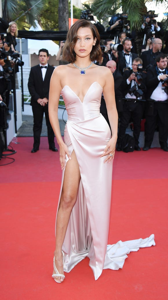 a74494a191 Cannes Film Festival  Bella Hadid s high-slit dress shows too much