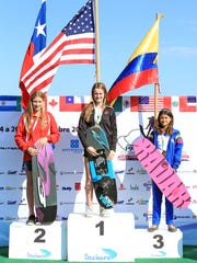 Milton's Kennedy Hansen stands at the top of the podium next to Dominga Gonzalez (Chile, left) and Daniela Verswyvel (Colombia, right) after winning gold in the Trick competition at the 2016 U13 Pan Am Championships in Mexico. Hansen won four gold medals -- including the Overall individual title -- and a silver at the competition.