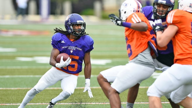 Northwestern State wide receiver Shakeir Ryan looks to make a move in last spring's Joe Delaney Bowl.