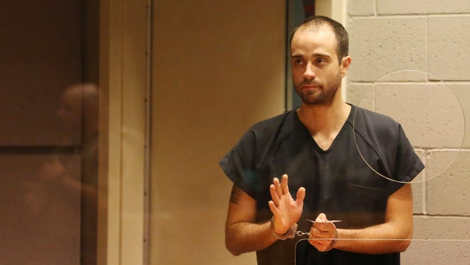 Kyle Erik Madrid, who was arrested in connection with the shooting outside the Keizer Bi-Mart on Monday, is arraigned Tuesday, March 22, 2016, at the Marion County Court Annex in Salem, Ore.