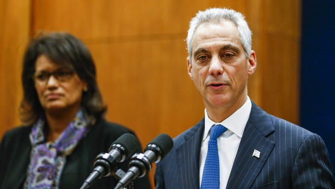 Chicago Mayor Rahm Emanuel introduces newly named Independent Police Review Authority head Sharon Fairley at a news conference at City Hall on Dec. 7, 2015.