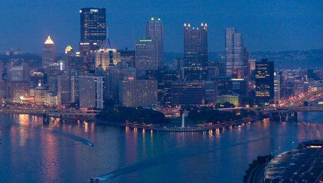 The skyline of downtown Pittsburgh, Pennsylvania, September 22, 2009.