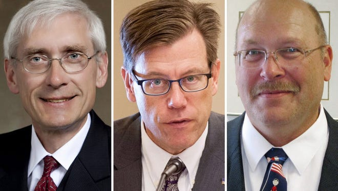 From left, Superintendent of Public Instruction Tony Evers, Dodgeville School District contractor John Humphries and retired Beloit and Whitnall superintendent Lowell Holtz are running for state superintendent of public instruction.