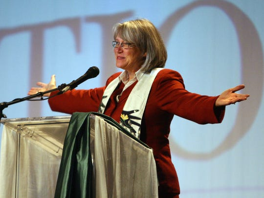 Rev. Sharon E. Watkins, general minister and president of the Christian Church (Disciples of Christ), gave the benediction at the 2009 General Assembly for the church at the Indiana Convention Center on Aug. 1, 2009. Watkins later led a rally calling for health-care reform.