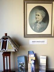 A portrait of the founder of Christian Science, Mary Baker Eddy, on the wall of the Christian Science Reading Room on Pine Street in Green Bay.