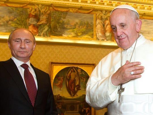 Pope Francis and Russian President Vladimir Putin,