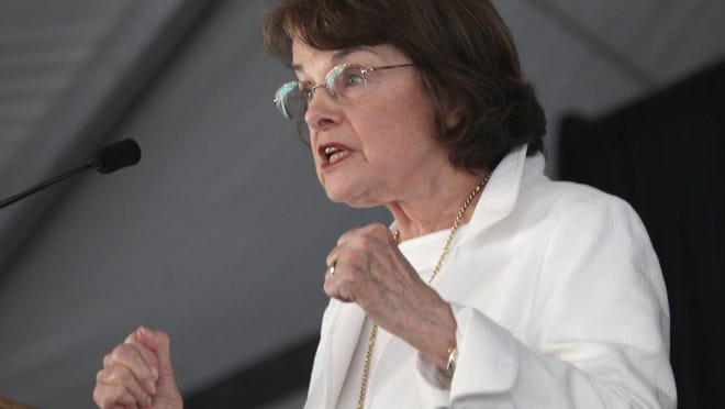 An enthusiastic Sen. Dianne Feinstein addresses a large crowd during a public forum about designating three new national monuments at the Whitewater Preserve on Oct. 13, 2015.