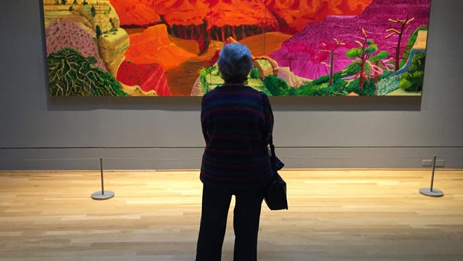 """A visitor gazes at David Hockney's depiction of the Grand Canyon in a show called """"Seeing Nature"""" at the Phillips Collection in Washington, D.C. The Phillips, a modern art museum, is one of the top attractions in the Dupont Circle neighborhood."""