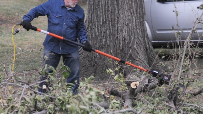 Richard Dillard, of Salina, uses a poll saw to cut a limb in Sunset Park, 700 Sunset Drive, on Tuesday morning. Dillard has volunteered close to 200 hours picking up limbs and cutting tree branches at Sunset Park.