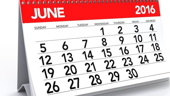 June 2016 calendar.