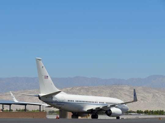 Michelle Obama's plane begins to taxi before departure from the Palm Springs Airport.