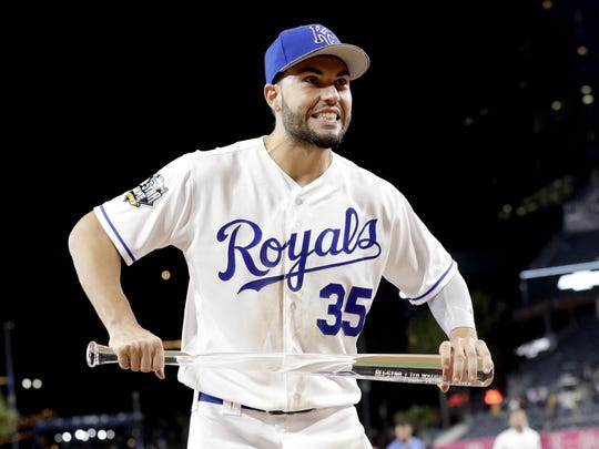 American League's Eric Hosmer, of the Kansas City Royals, holds the MVP award after the MLB baseball All-Star Game, Tuesday, July 12, in San Diego. The American League won 4-2.