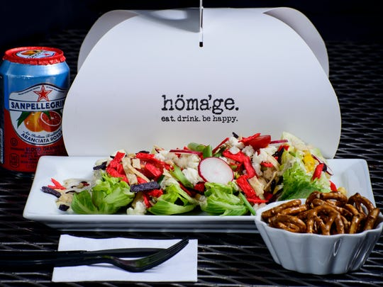A Tex-Mex salad is among the main course options on the Go_Homage menu of portable meals recently debuted by Homage Bakery & Coffeehouse on Ralston Street.