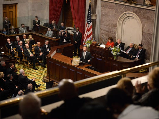 Gov. Bill Haslam speaks during the annual State of the State address Monday, Feb. 1, 2016, at the state Capitol in Nashville.