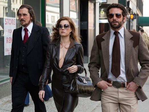 "Christian Bale, left, Amy Adams and Bradley Cooper all received Oscar nominations for their work in ""American Hustle."" The film is among the top nominees for the Academy Awards."