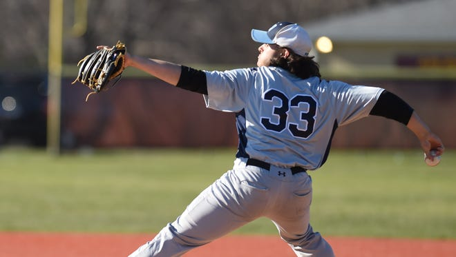 John Jay's Trent Valentine pitches during a game versus Arlington in LaGrangeville last year.