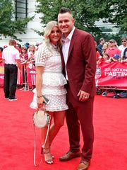Jul 17, 2018; Washington, DC, USA; American League outfielder Mike Trout of the Los Angeles Angels (27) on the red carpet before the 2018 MLB home run derby at Nationals Ballpark. Mandatory Credit: Geoff Burke-USA TODAY Sports