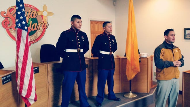 State Sen. Howie Morales, far right, honored Pvt. Alejandro Gomez, left, of Santa Clara, and Pvt. Chris Valencia, middle, of Mimbres by flying two flags at the State Capitol.