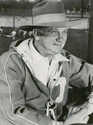 "Garbed in what he calls his ""Big Game Hat"", Georgia"