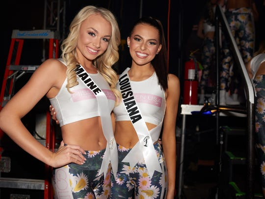 Erin McPherson, Miss Maine TEEN USA 2018; and Lindsey Conque, Miss Louisiana TEEN USA 2018; backstage during the MISS TEEN USA® Preliminary Competition at Riverdome at the Horseshoe Casino and Hotel on Wednesday, May 16.