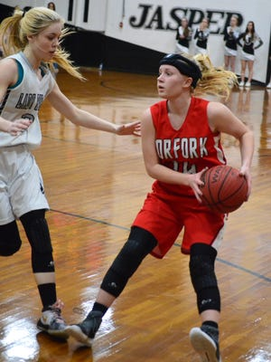 Norfork's Kinley Stowers (right) is defended by Jasper's Molly Waters on Friday night at Jasper.