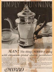 An advertisement from 1932 featuring Mirro's chromium-plated electric percolator.