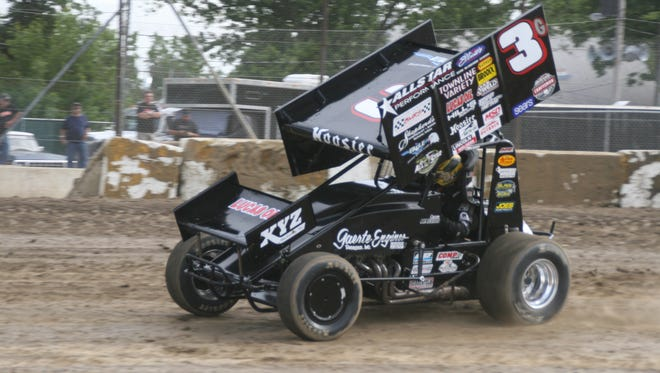 Carson Macedo wins the 410 feature Saturday at Fremont Speedway.