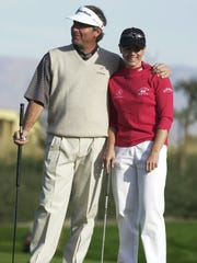 Fred Couples and Annika Sorenstam during the 2003 Skins Game.