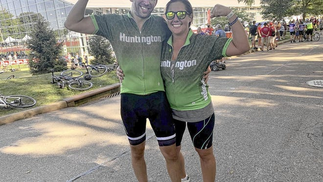 Westerville's Matt Manning and his wife, Emily, are participating in a virtual and individualized approach to the annual Pelotonia. The Mannings are dedicating this year's ride to Emily's sister, Erin Williams, who is battling brain cancer. The Mannings are pictured following last year's race.