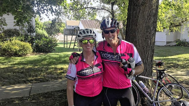 """Laura Wetmore trains with her old brother, John Wetmore, for a recent Pelotonia. Laura Wetmore has participated in Pelotonia every year since it began in 2009 but must do so """"virtually"""" this year because of the COVID-19 coronavirus pandemic."""