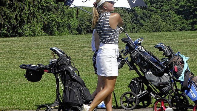 North senior Ella Bertke watches her drive on No. 10 at Denison Golf Club during a Licking County Junior Golf Association match this summer. Bertke is among the top returning golfers for the Panthers, who are seeking their third OCC-Ohio Division championship in four years.