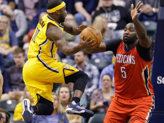 Indiana Pacers guard Ty Lawson (10) makes pass in front