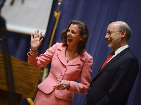 Katie McGinty, left, a former chief of staff for Gov. Tom Wolf, right, is running for U.S. Senate in 2016.