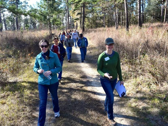 Science teachers and Tall Timbers staff during fire ecology field trip.