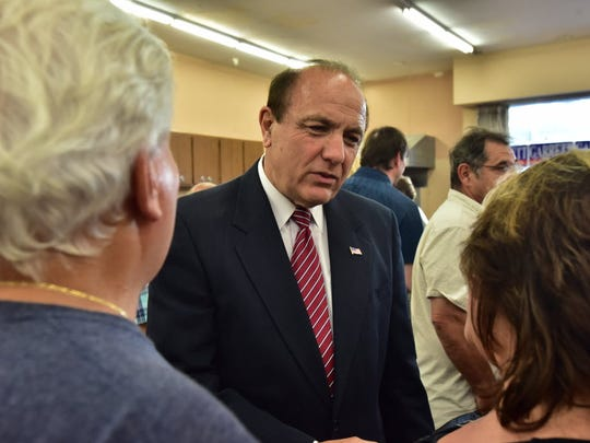 Former state Assemblyman Paul DiGaetano speaking to supporters in Hackensack during the June 7 vote for the head of the Bergen County Republican Organization.