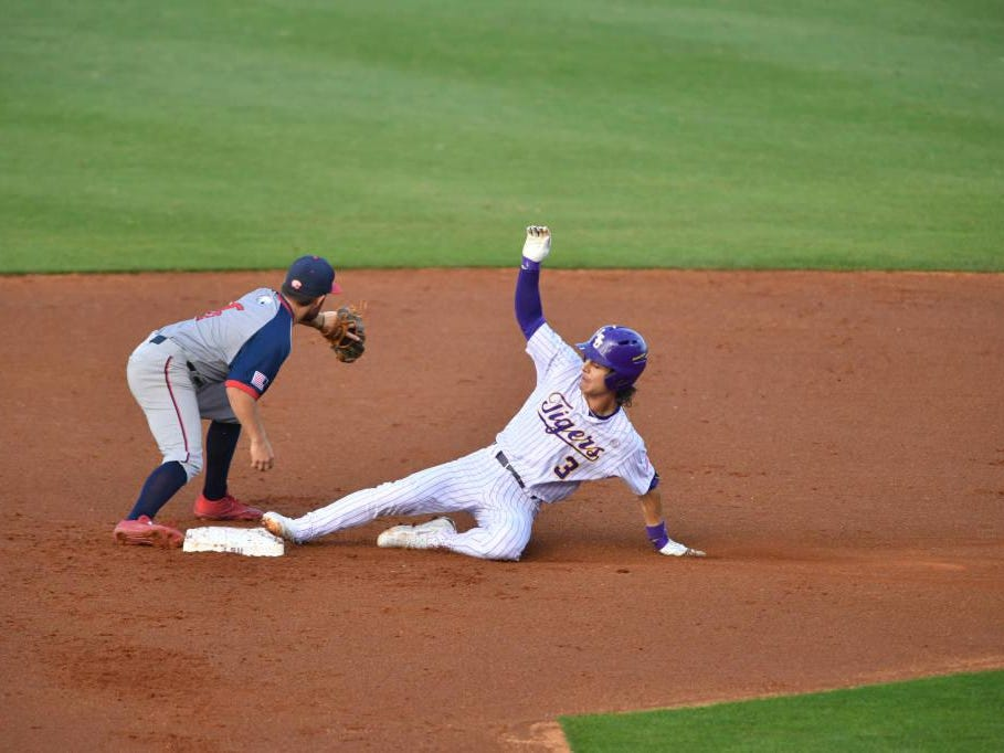 LSU's Kramer Robertson slides into second base during Tuesday's game with South Alabama.