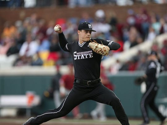 Mets draft choice, Mississippi State pitcher J.T. Ginn, here during his freshman year, had Tommy John surgery in March.