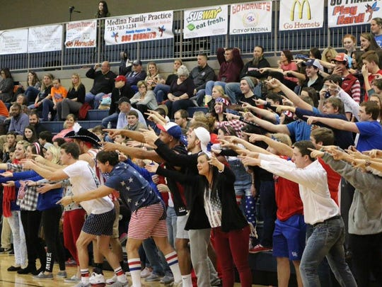 South Gibson students had a Patriotic Night, and young Hornet supporters wore red, white and blue.