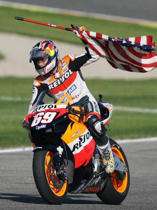 US Nicky Hayden celebrates after winning
