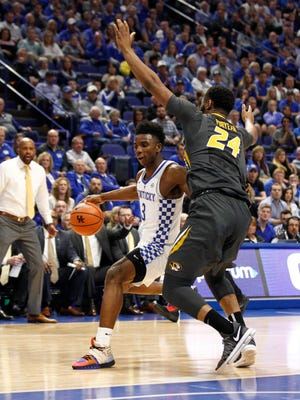 Feb 24, 2018; Lexington, KY, USA; Kentucky Wildcats guard Hamidou Diallo (3) dribbles the ball against Missouri Tigers forward Kevin Puryear (24) in the first half at Rupp Arena. Mandatory Credit: Mark Zerof-USA TODAY Sports