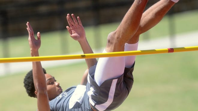 Cooper's Tiyoshi Hopes misses on his first attempt at 6 feet, 7 inches in the boys high jump. He ended up finishing third in the event with a 6-6 on April 29, 2016, at the Region I-5A track and field meet at Lowrey Field in Lubbock.