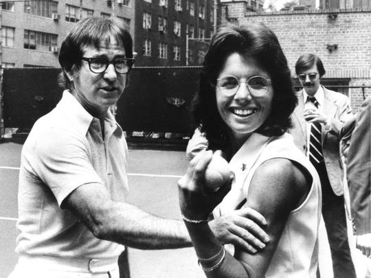 The real Bobby Riggs and Billie Jean King clown for the cameras weeks before their milestone tennis match.