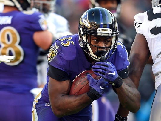Ravens running back Gus Edwards.