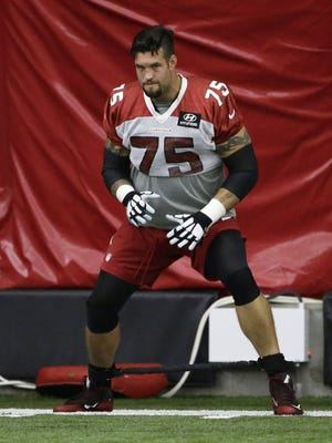 Arizona Cardinals guard Alex Boone (75) during practice on Friday, Sep. 8, 2017 in Tempe, AZ.