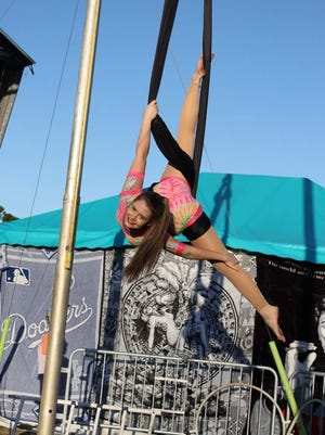 Justine Higgins on the aerial hammock at the Firefighters Fair.