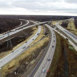 Traffic travels along the Interstate 94 and I-69 interchange in December 2014 during reconstruction of the roadways. The Michigan Department of Transportation stayed within about one percent of its budget on the $77 million project.